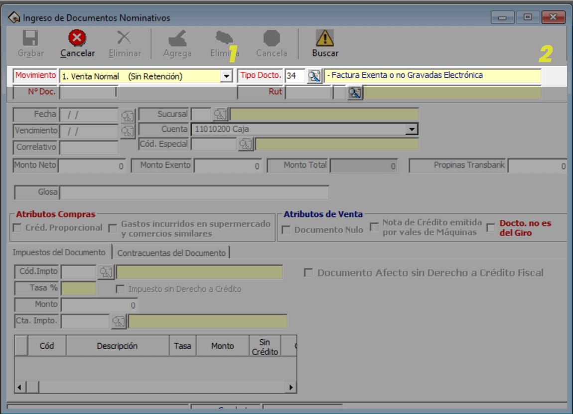 registro de factura exenta en el sistema de contabilidad