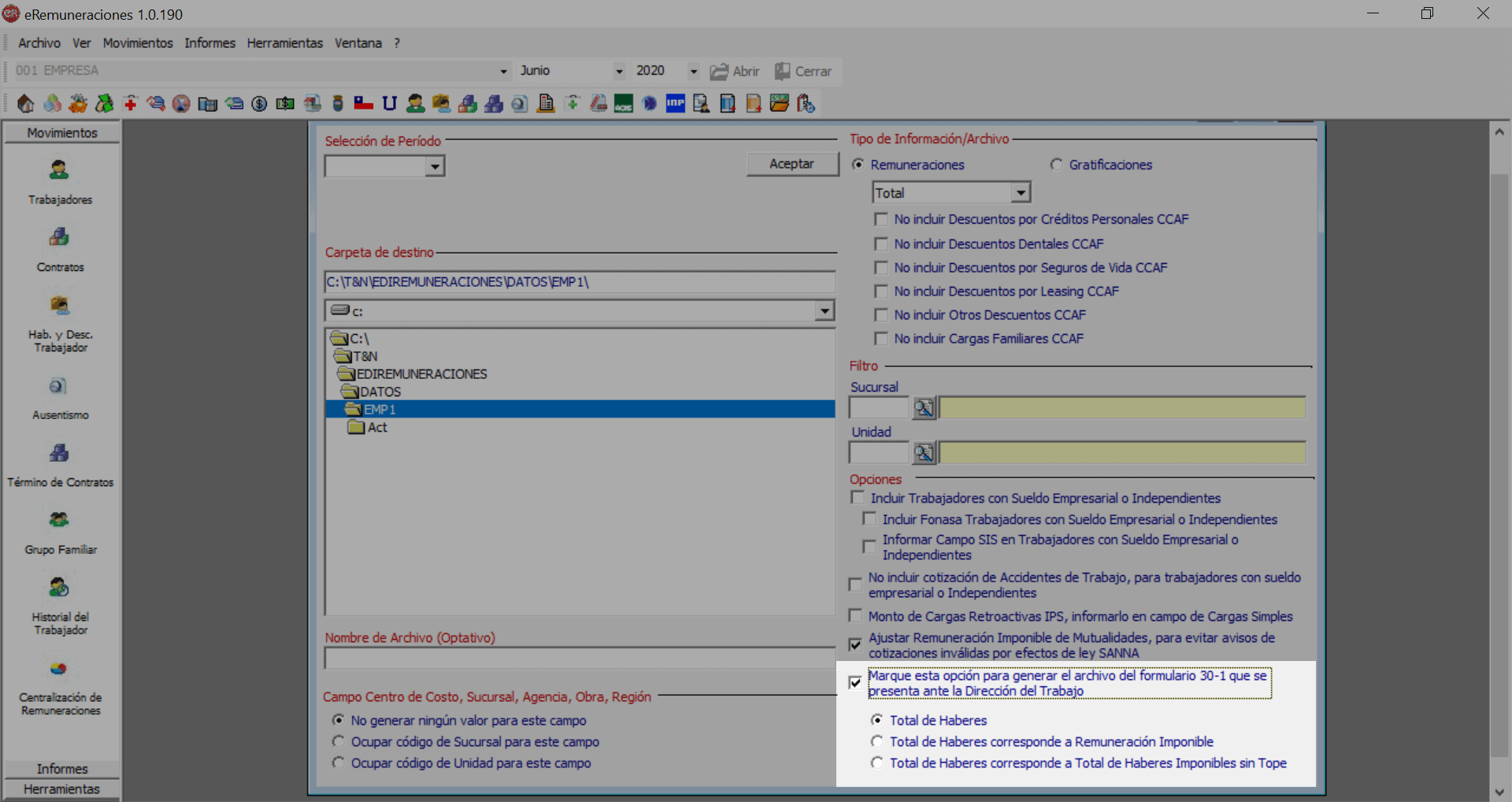 como generar el formulario 30-1 para aplicar la ley de proteccion al empleo