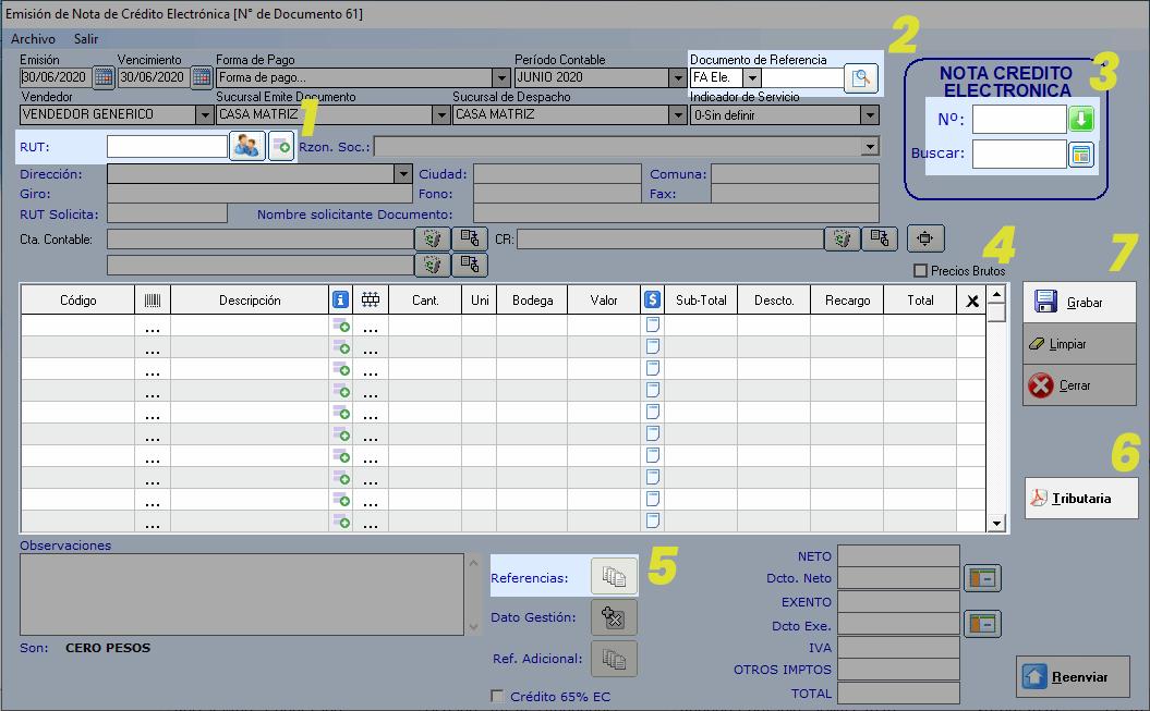 como crear una nota de credito en Sistema Facturacion Electronica Edig